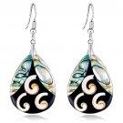 Adorable Abalone Shell Long Dangle Hook Earrings