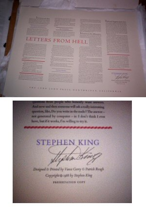 Stephen King ~ Letters From Hell ~ Presentation SIGNED