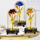 Beauty and The Beast Gold Foil Galaxy Rose Flower