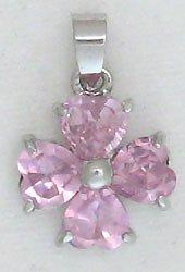 Pink Four Leaf Clover Sterling Silver Pendant Necklace
