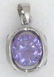 Purple Cube Sterling Silver Pendant Necklace