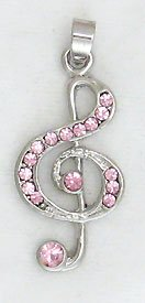 Pink Treble Clef Music Sterling Silver Pendant Necklace