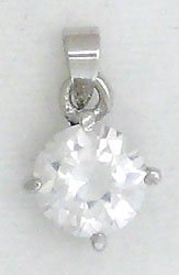 White Round Solitaire Sterling Silver Pendant Necklace