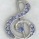 Violet Treble Clef Music Sterling Silver Pendant Necklace