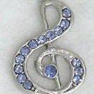 Violet Treble Clef Music Sterling Silver Pendant Necklace