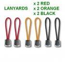 VICTORINOX 6 X LANYARDS : 2 X BLACK 2 X RED 2 X ORANGE - SWISS ARMY KNIFE