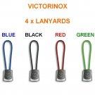 VICTORINOX 4 x LANYARDS : 1 GREEN 1 RED 1 BLACK 1 BLUE - SWISS ARMY KNIFE