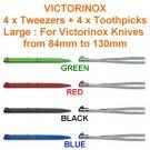 VICTORINOX 4 X TWEEZERS & 4 x TOOTHPICKS LARGE - SWISS ARMY KNIFE