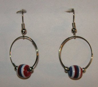 156(Inventory#) Hoop with muti color beads earrings