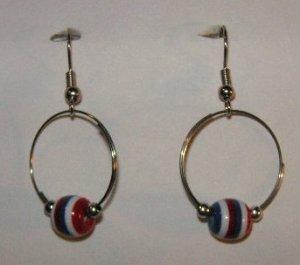 156(Inventory#) Hoop with muti color beads earrings