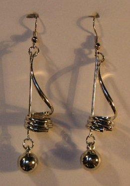 154(Inventory#) Fashion long dangling silver earrings