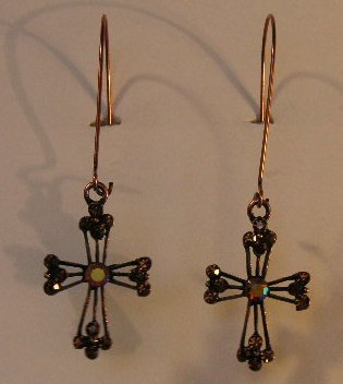 100(Inventory#) Copper cross earrings