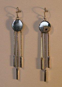 151(Inventory#) Fashion long dangling silver earrings