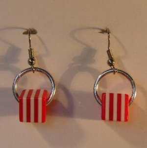 146(Inventory#) Red and white strip square earrings