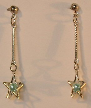 140(Inventory#) Blue star earrings