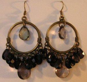 103(Inventory#) Black beads on hoop earrings