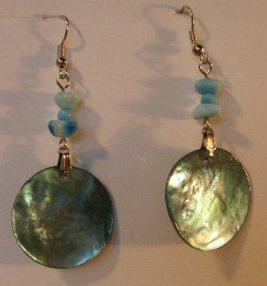 114(Inventory#) Green seashells earrings