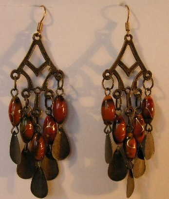 127(Inventory#) Fashion red dangling earrings