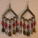 116(Inventory#) Fashion red dangling earrings