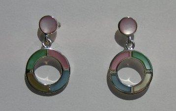 109(Inventory#) Custom design multi color earrings 100% silver