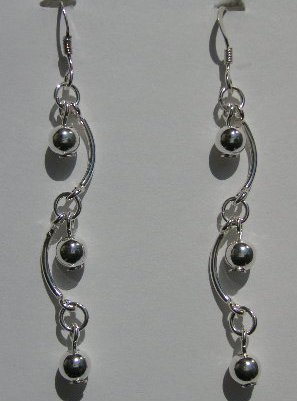 111(Inventory#) Custom design long earrings 100% silver