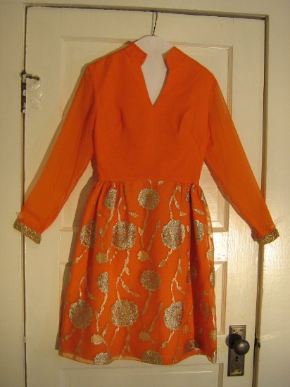 Mod 1970s Orange Chiffon Dress with Gold Embroidery