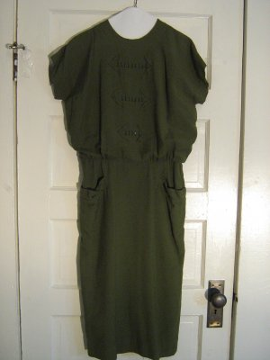 Olive Green 1940s Blouson Dress with Bead Detail