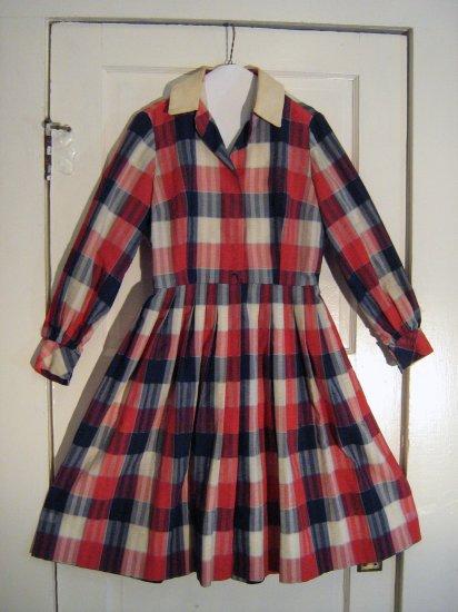 Vintage 1950s Patriotic Seersucker Shirtwaist Longsleeved Dress
