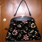 Vintage Purse Handbag Brocade Black Velvet Embroidered