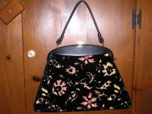 Vintage Purse Handbag Brocade Black Velvet Embroidered