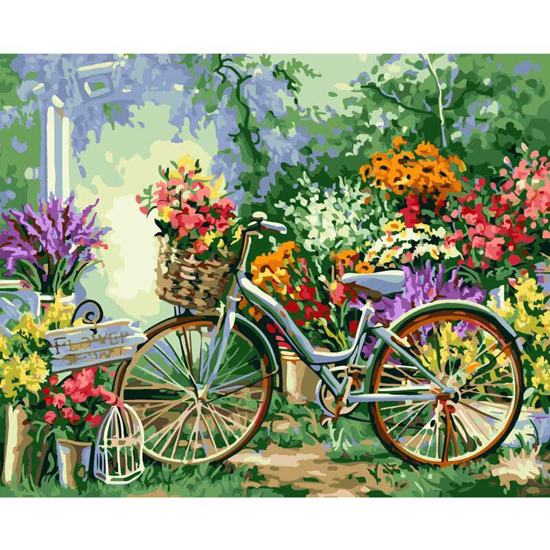 Vintage Bicycle in Garden DIY Paint by Numbers Kits Adults Kids Retro Bike Flowers Color by Number