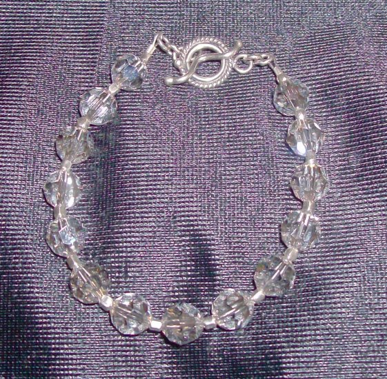 Silver Crystal Swarovski and Sterling Silver Bracelet
