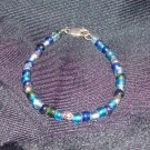 Blue Glass and Sterling Silver Bracelet