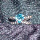 Aqua Heart Swarovski Ring