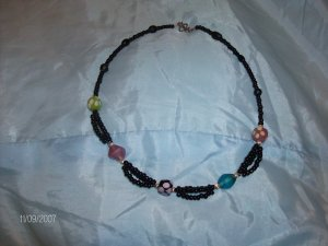 Black Seed Beads with Glass Lampwork Necklace
