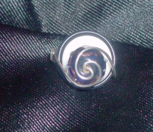 Wire Wrapped Glass Bead and Button Ring