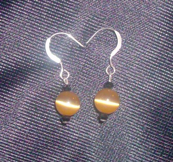 Glass Tigers Eye Sterling Silver Earrings