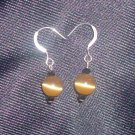 Glass Tigers Eye Sterling Silver Earrings