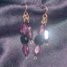 Vintage Purple and Black Glass Earrings