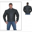 PWMJ802-01 MEN'S NAKED COWHIDE LEATHER JACKET RACER JACKET