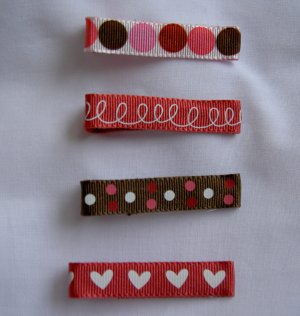 Lot of 4 Pink and Brown Clippies