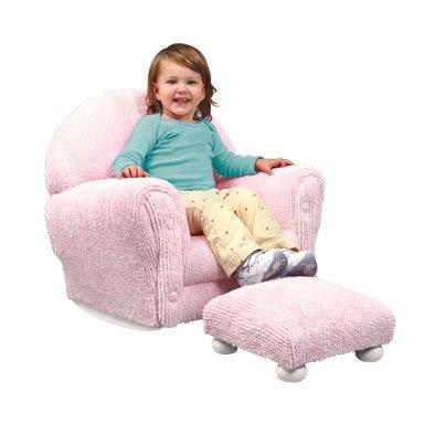 Upholstered Rocker w/Ottoman - Pink Chenille Item # 18620