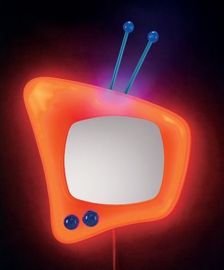 Neon  TV Wall Mirror - Orange Item # WB-NWM TV-O