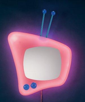 Neon TV Wall Mirror - Pink Item # WB-NWM TV-PK
