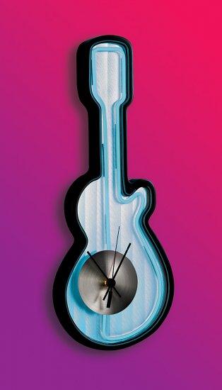 Neon Guitar Clock - Blue Item # LS-C-GUITAR-BU