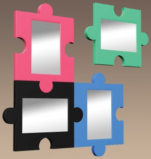 Puzzle Mirror - Black Item # LS-WM PUZZLE BK