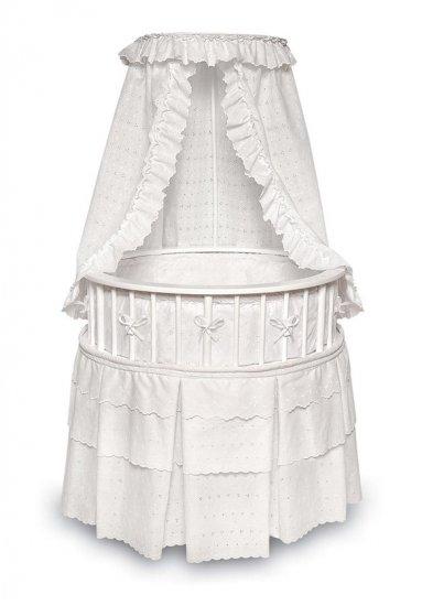 White Elegance Round Baby Bassinet w/White Eyelet Bedding Item # 00827