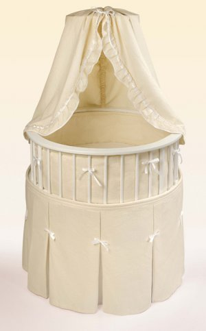 White Elegance� Round Baby Bassinet w/Ecru Waffle Bedding Item # 00830