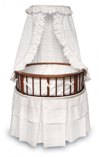 Cherry Elegance Round Bassinet w/White Eyelet Bedding Item # 00829