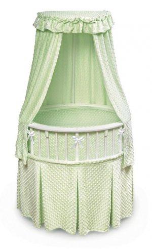 White Elite� Oval Bassinet with Sage Furry Dot Bedding Item # 00820